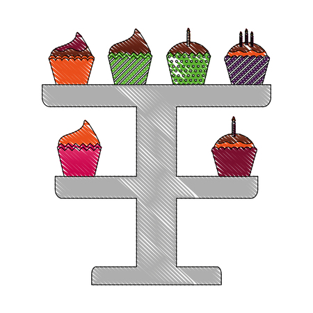 birthday cupcakes with candles in rack decoration vector illustration drawing Иллюстрация