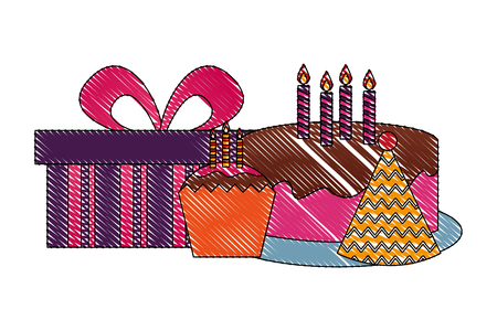 birthday cake cupcake hay party and gift vector illustration drawing