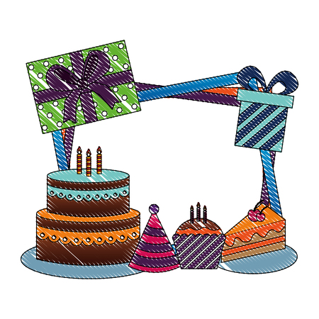 birthday cake party hat gift boxes and frame decoration vector illustration drawing