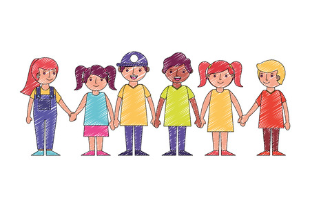group little childrens holding hands vector illustration drawing Standard-Bild - 115000346