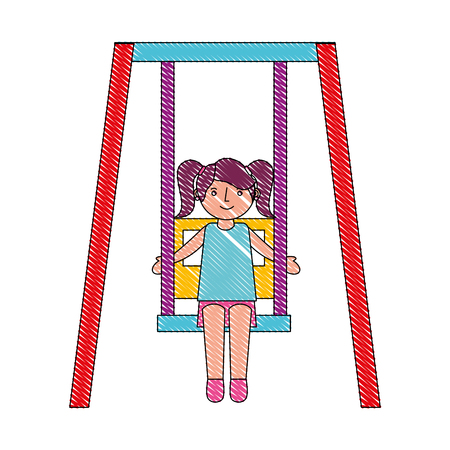cute little girl in swing game vector illustration drawing