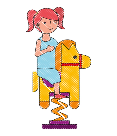 little girl riding in toy horse rocking vector illustration drawing Illustration