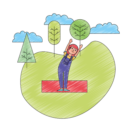 woman practicing yoga in the park vector illustration drawing
