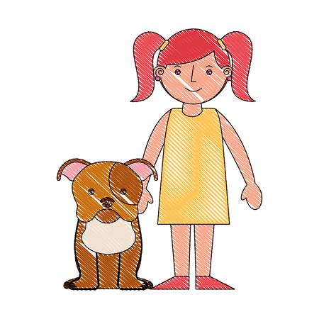 little girl with her pet dog vector illustration drawing Ilustração