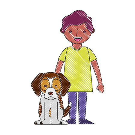 smiling little boy with her dog pet vector illustration drawing