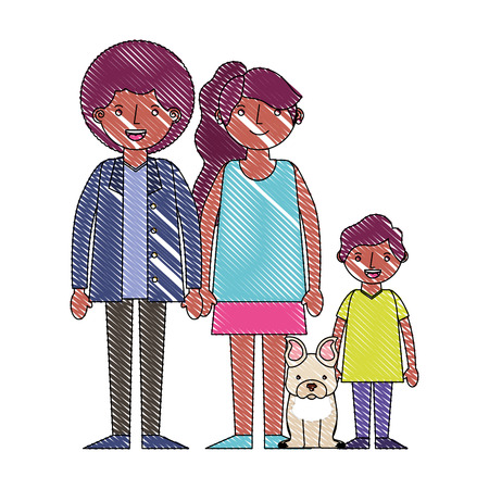 family afro american with little dog pet vector illustration drawing 向量圖像
