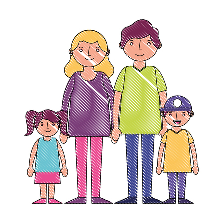 happy family parents with her son and daugther vector illustration drawing Çizim