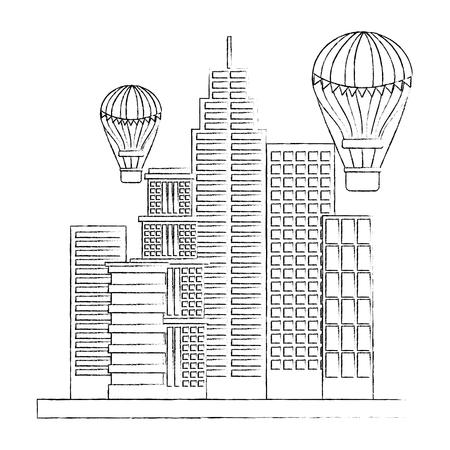 city building flying hot air balloons vector illustration sketch