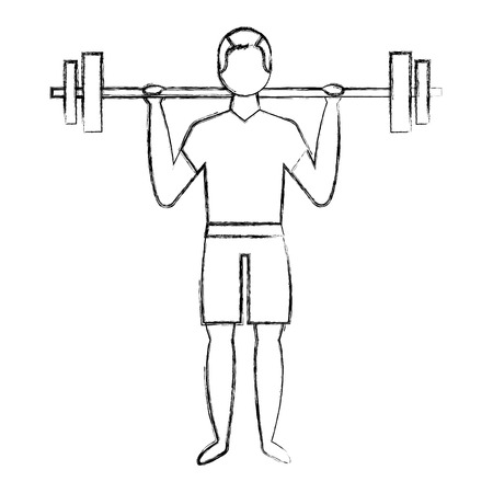 bodybuilder man in short swimsuit lifting barbell vector illustration Illustration
