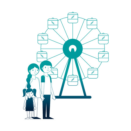 family parents and daughter in ferris wheel park vector illustration neon Stock Vector - 114982032