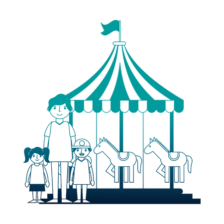 family dad with her son and daughter in carousel fair vector illustration neon