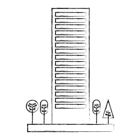 building architecture skyscraper tree natural vector illustration sketch