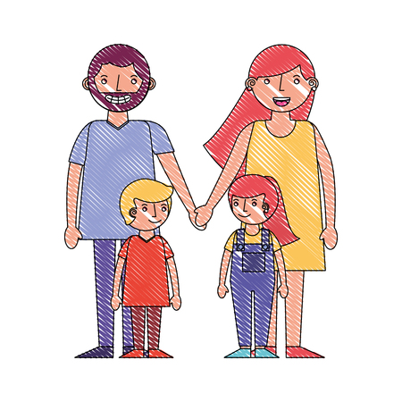 cute family parents holding hands and son daughter vector illustration drawing