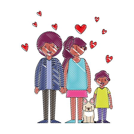 family afro american with little dog pet hearts love vector illustration drawing