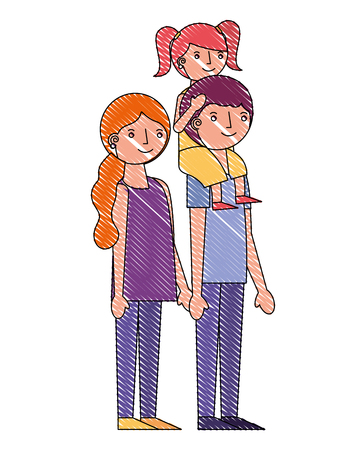 happy family mom and dad carrying daughter in shoulders vector illustration drawing Banque d'images - 114982046