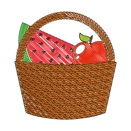 wicker basket with fresh fruits vector illustration drawing 向量圖像
