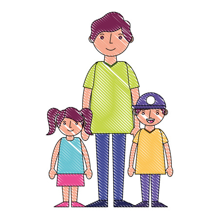 family dad with her son and daughter vector illustration drawing