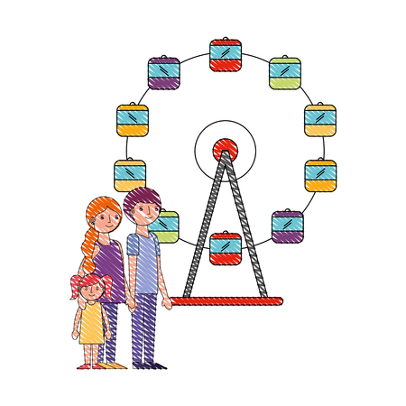 family parents and daughter in ferris wheel park vector illustration drawing