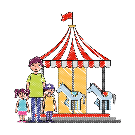 family dad with her son and daughter in carousel fair vector illustration drawing