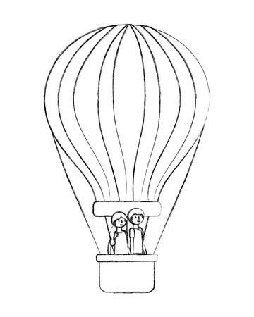 couple lover traveling in the balloon air hot vector illustration design