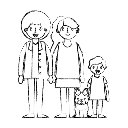 happy family with dog mascot icon vector illustration design Çizim