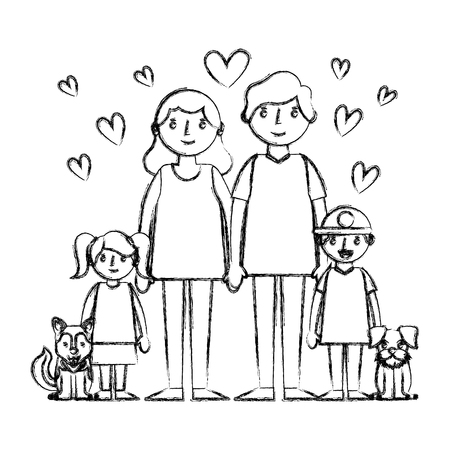 happy family with dogs mascots and hearts avatars characters vector illustration design  イラスト・ベクター素材