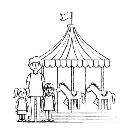 happy family in the carousel vector illustration design