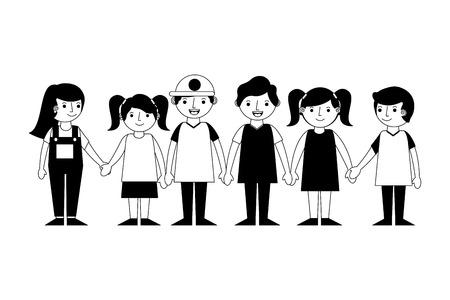 group of kids friends characters vector illustration design 版權商用圖片 - 104582579