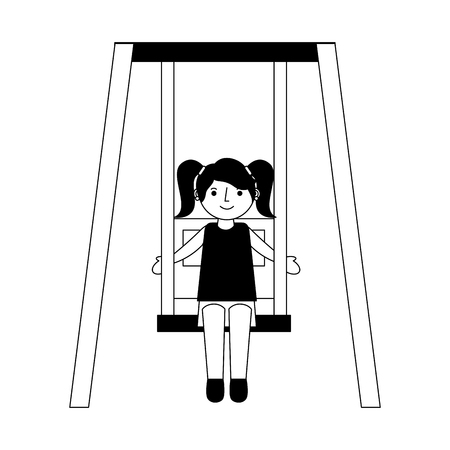 little girl in the swing vector illustration design 스톡 콘텐츠 - 114982096