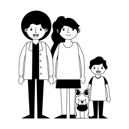 happy family with dog mascot icon vector illustration design  イラスト・ベクター素材
