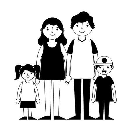 happy family avatars characters vector illustration design  イラスト・ベクター素材