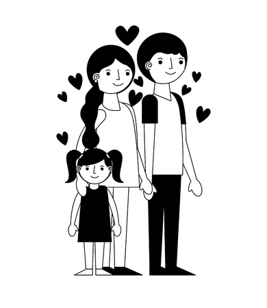 happy family with hearts avatars characters vector illustration design Illustration