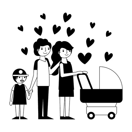 happy family with cart baby and hearts icon vector illustration design  イラスト・ベクター素材