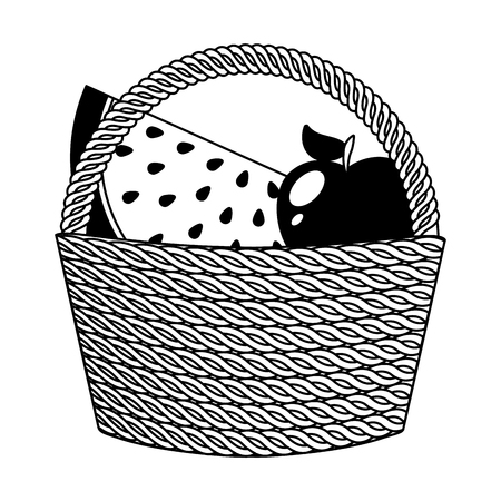 basket with fruits icons vector illustration design
