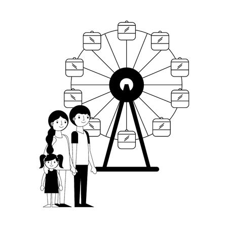 happy family in the panoramic wheel vector illustration design Illustration