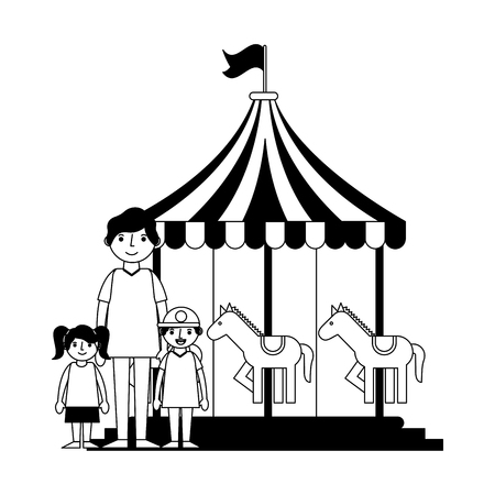 happy family in the carousel vector illustration design