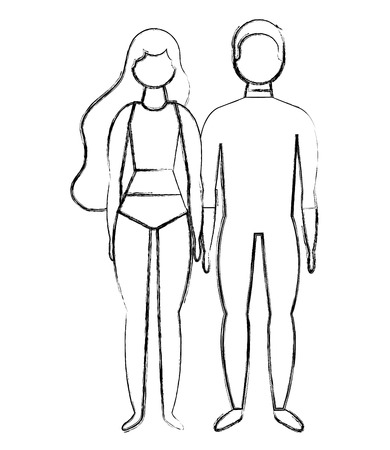 man and woman character in swimsuit summer vector illustration Foto de archivo - 114982137