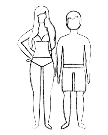 man and woman character in swimsuit summer vector illustration Foto de archivo - 104560864
