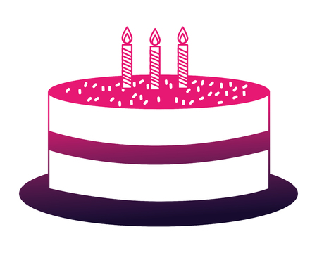 delicious chocolate birthday cake with candles vector illustration neon