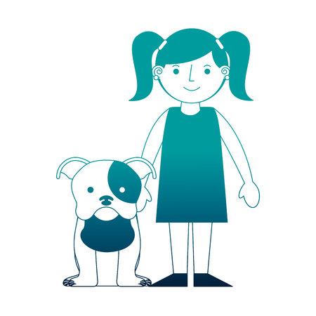little girl with her pet dog vector illustration neon