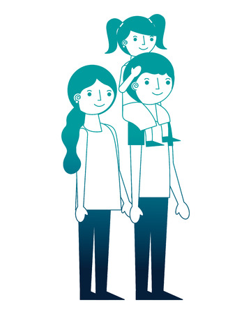 happy family mom and dad carrying daughter in shoulders vector illustration neon Banque d'images - 114982158