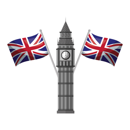 london big ben tower and crossed flags england vector illustration