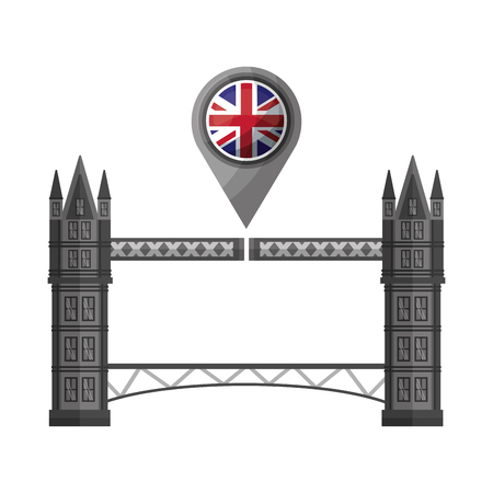 london bridge and united kingdom flag in pointer map vector illustration