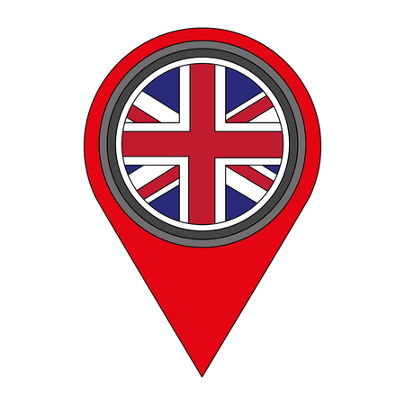 united kingdom flag in pointer map location vector illustration