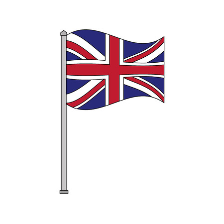 united kingdom flag in pole national symbol vector illustration