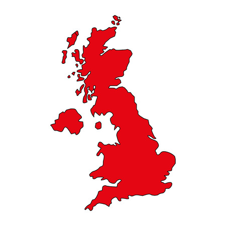 red united kingdom map geography location vector illustration