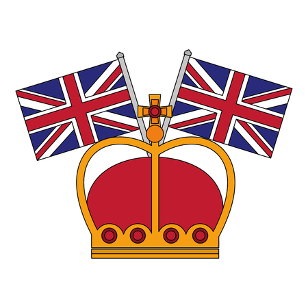 united kingdom crown and flags symbol vector illustration