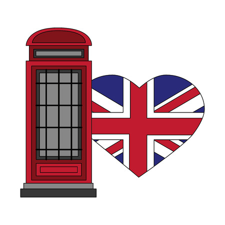 london telephone box and british flag vector illustration Stock Illustratie