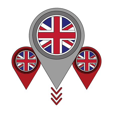 united kingdom flag in pointers map location vector illustration