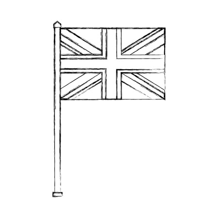 flag in pole of great britain isolated icon vector illustration design Archivio Fotografico - 114982174